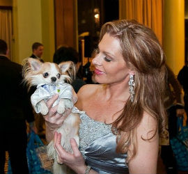 Michelle Brislin and GoGo dressed for Pre-Westminster Fashion Show for Dogs.